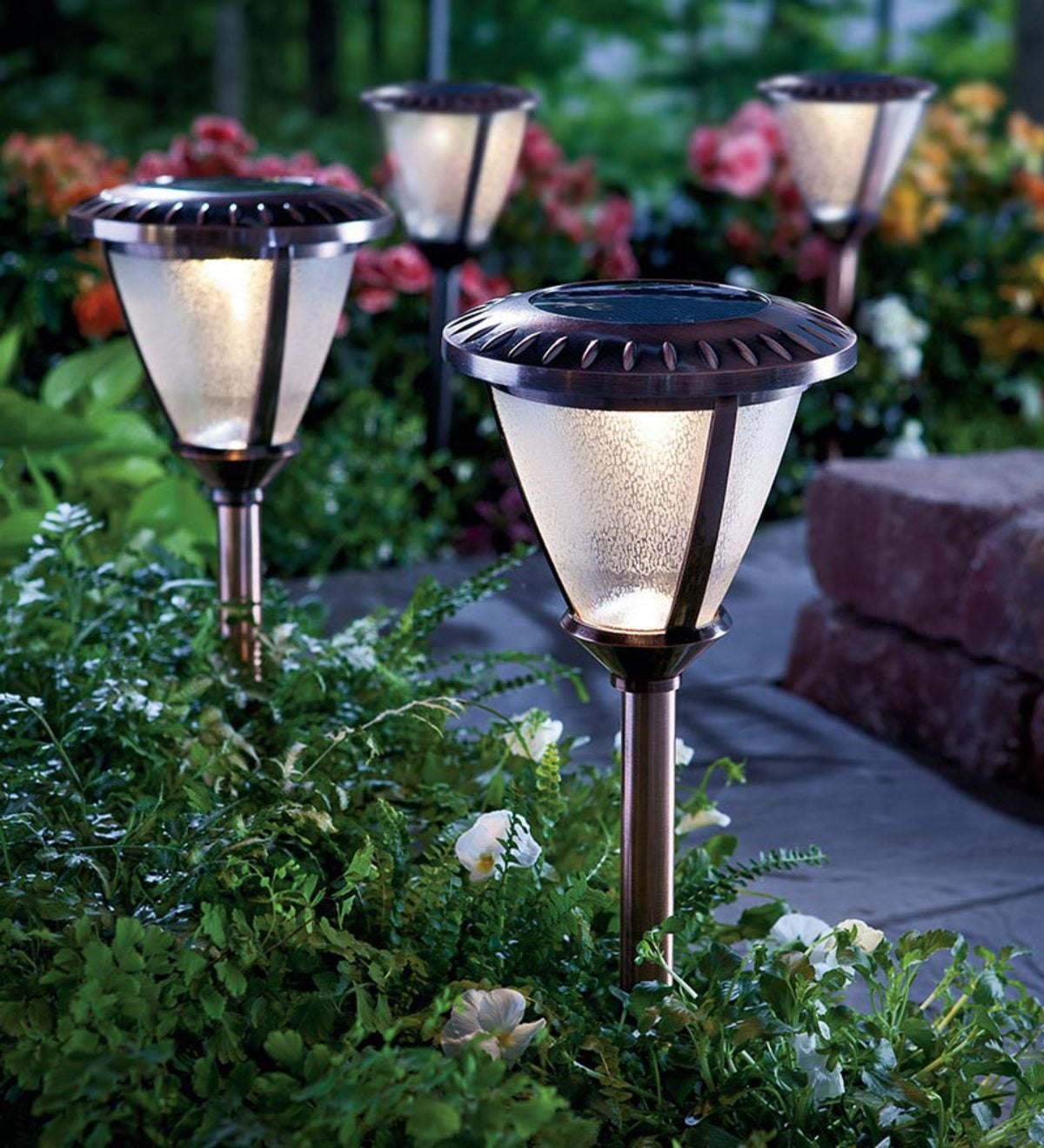 Set Of 2 Extra Bright Heavy Duty Gl Solar Path Lights