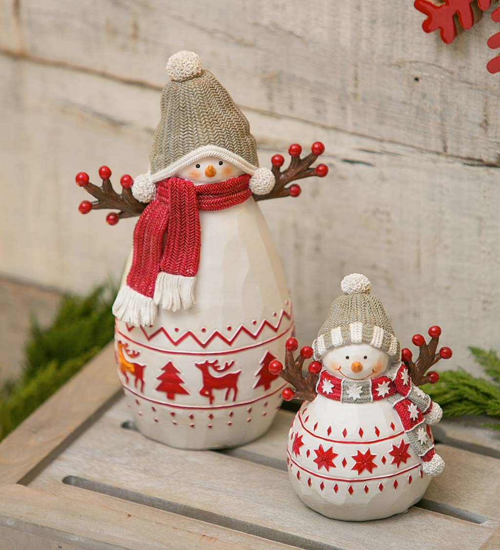 White and Red Snowman with Hat and Scarf, Set of 2