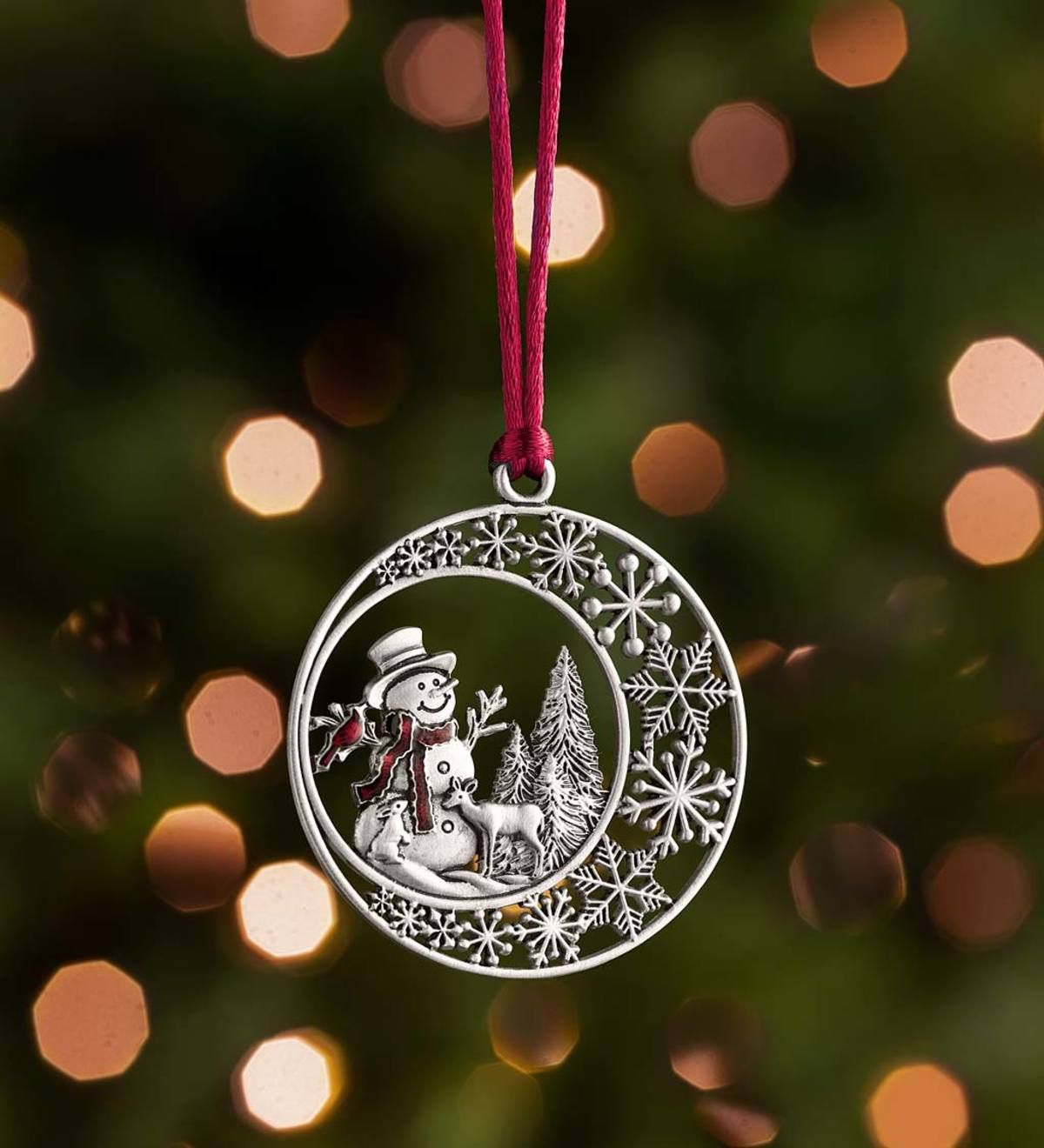 Solid Pewter Christmas Tree Ornament - Snowman
