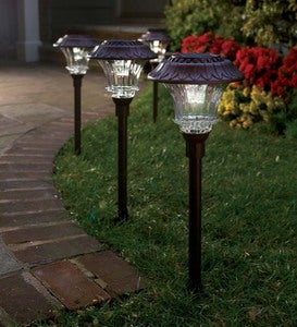 Super-Bright Solar LED Path Lights, Set of 4
