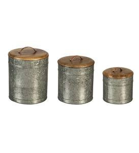 Nested Galvanized Metal and Wood Containers, Set of 3