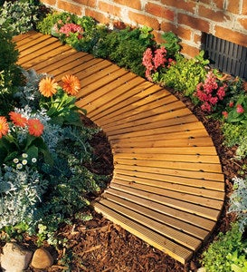 "4'L x 18""W Portable Roll-Out Wooden Curved Pathway"