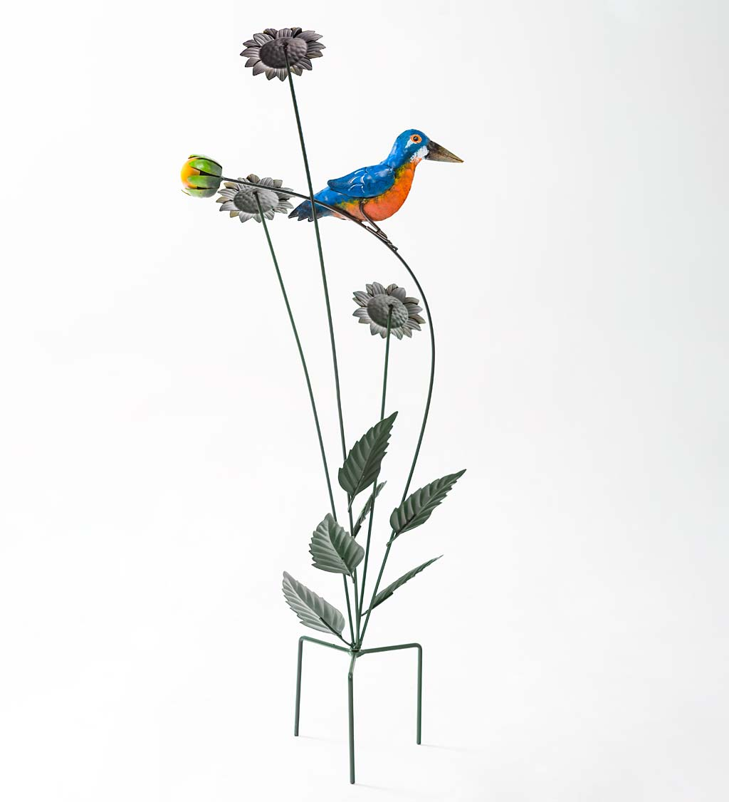 Sunflowers with Bird Metal Garden Stake