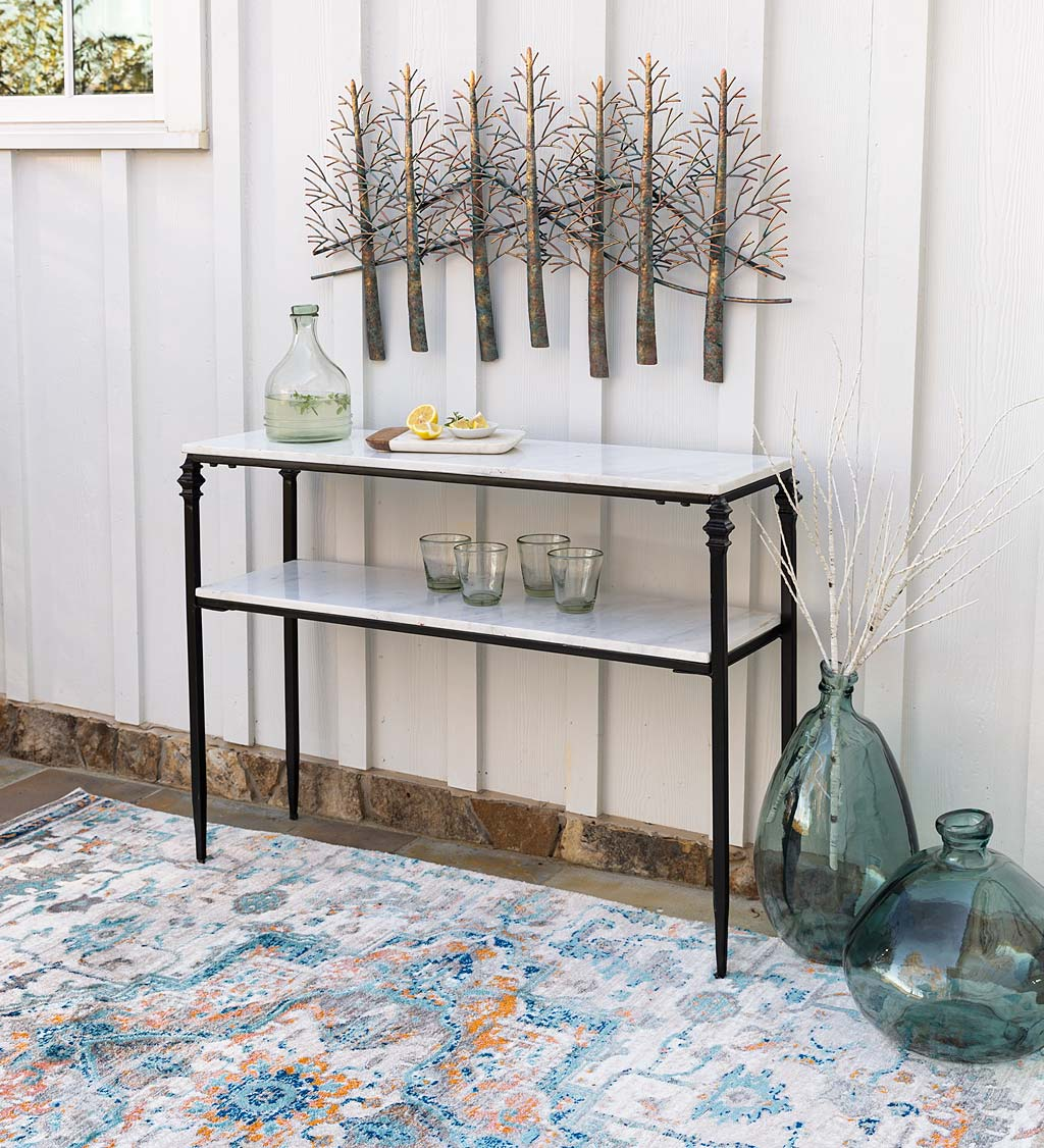 Indoor/Outdoor Nottoway White Marble Console Table
