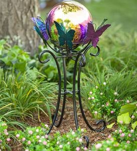 Spinning Butterfly Gazing Ball Stand