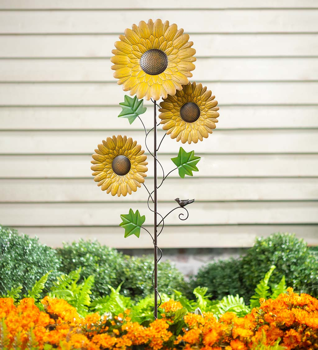 Sunflower Garden Metal Stake