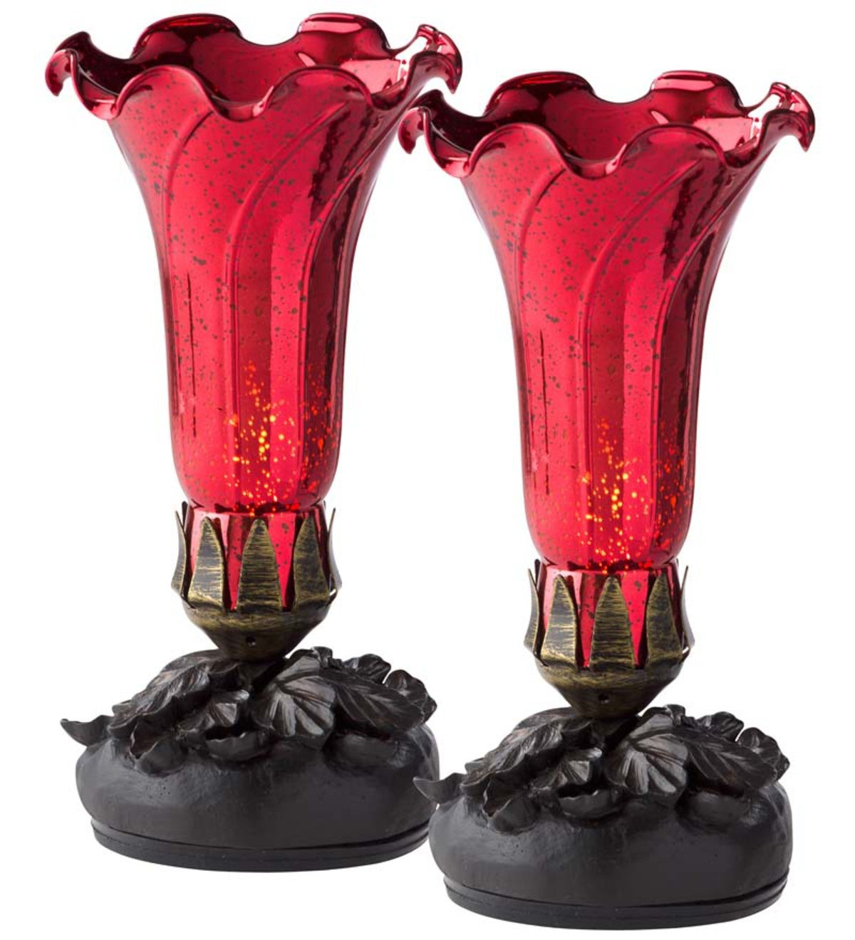 Handblown Mercury Glass Outdoor Lily Lights, Set of 2 - Red