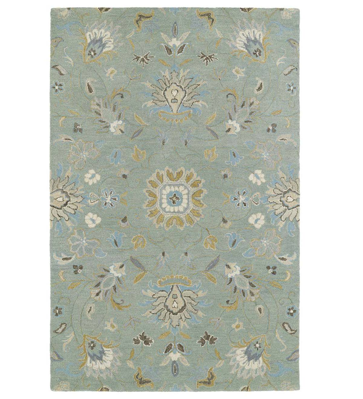 Teal Meadow Floral Vine Wool Rug, 2' x 3' - Mint