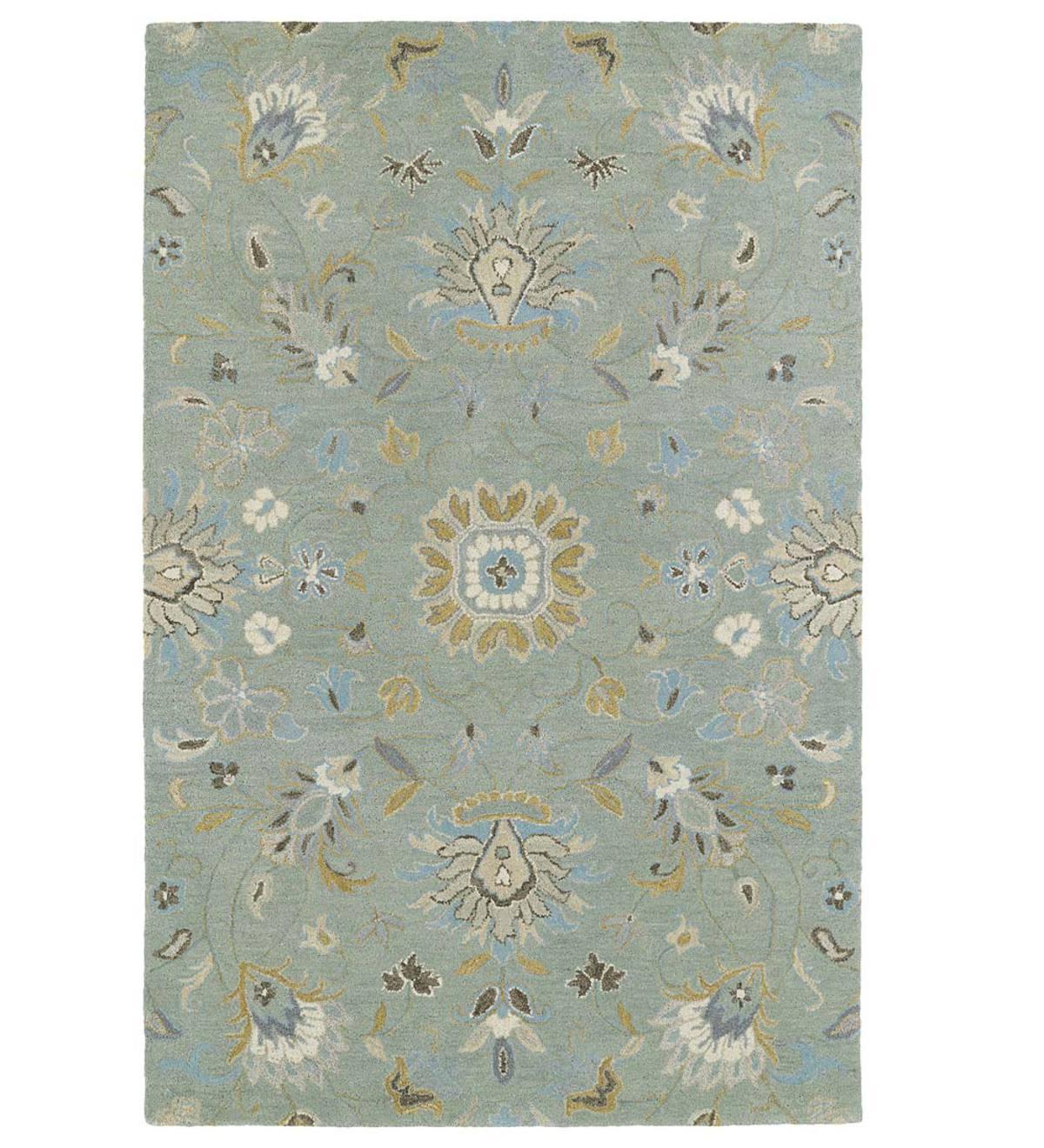 Teal Meadow Floral Vine Wool Rug, 10' X 14'