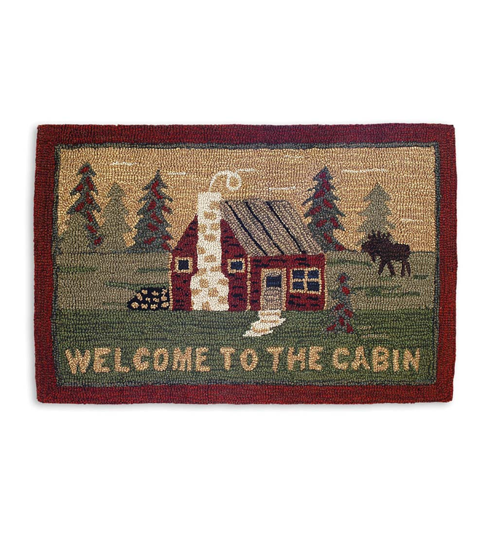 Hooked Wool Welcome to the Cabin Accent Rug