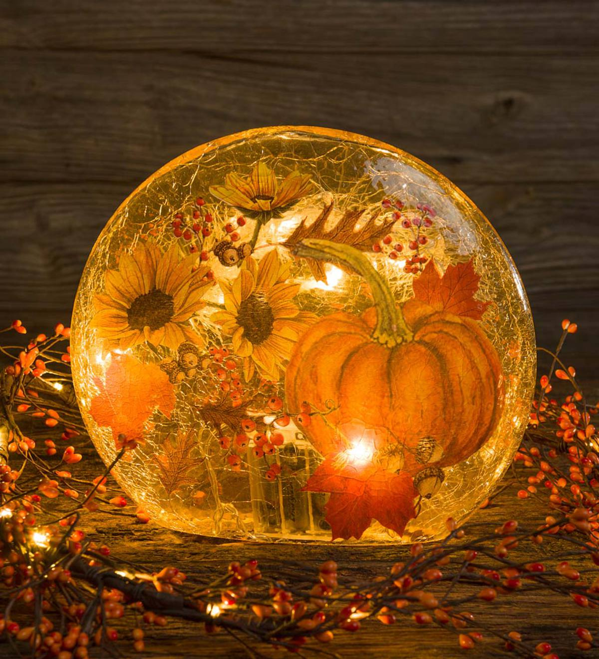 Lighted Sunflowers and Pumpkin Glass Decor