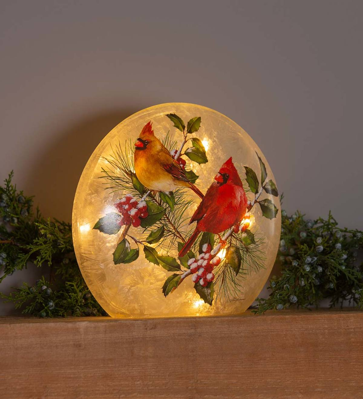 Winter Cardinals Frosted Glass Accent Light