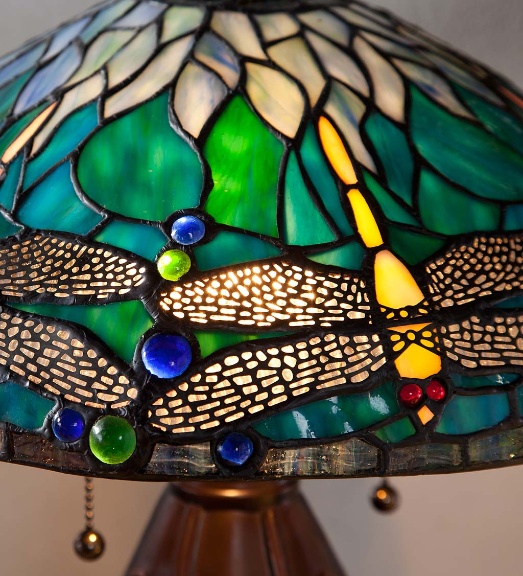 Allendale Dragonfly Tiffany Stained Glass Table Lamp