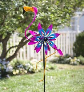 Flamingo Wind Spinner with Bobble Accents