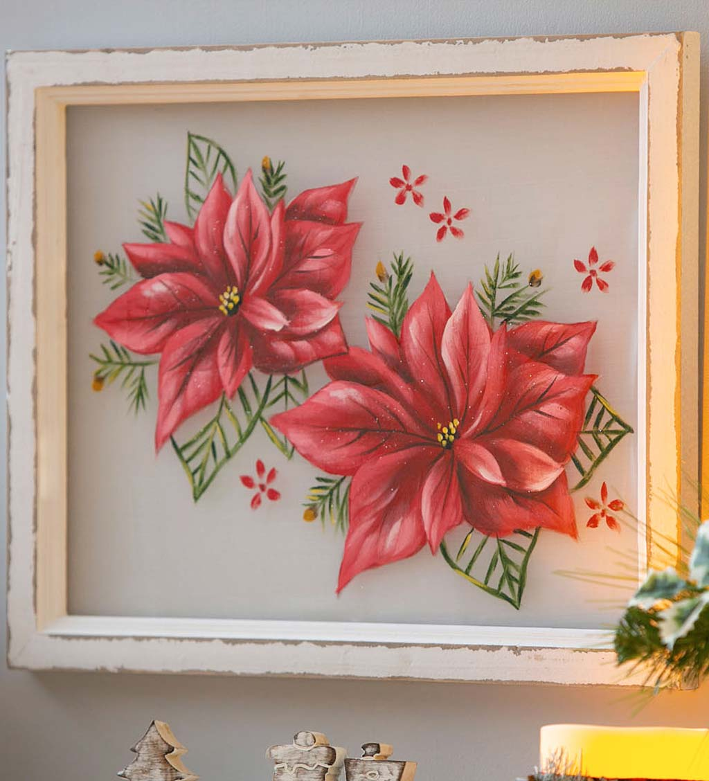 Hand Painted Poinsettia Framed Wall Art