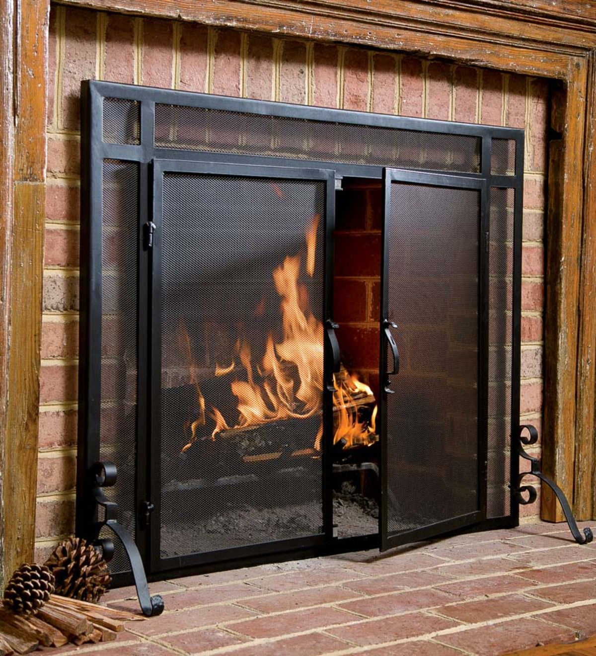 "Hearth Covers: Flat Guard Fire Screens With Doors In Solid Steel, 44""W X"