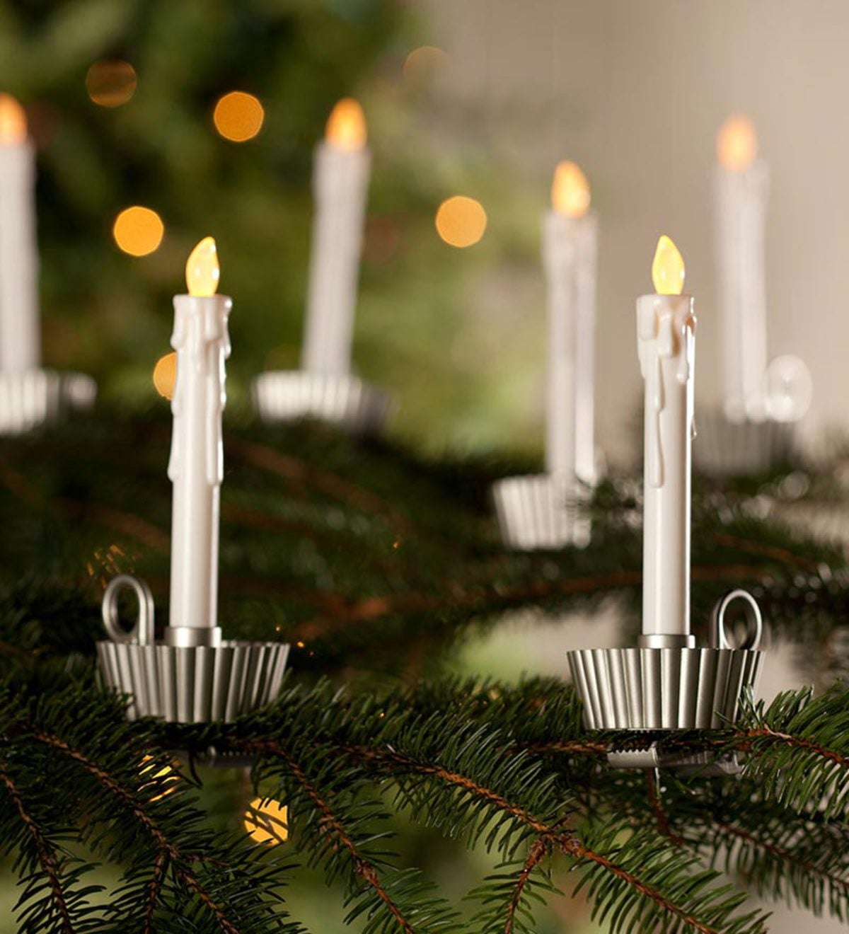 Set of 6 Christmas Tree Clip Candles | PlowHearth