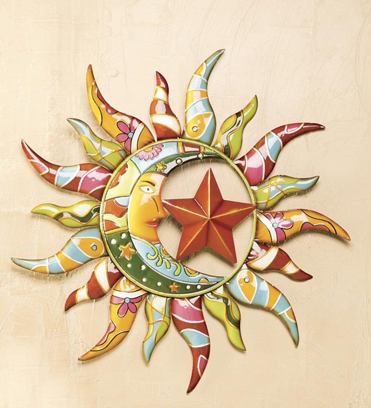 Plow And Hearth Talavera Wall Accent Metal: Talavera Painted Metal Sun And Moon Wall Art