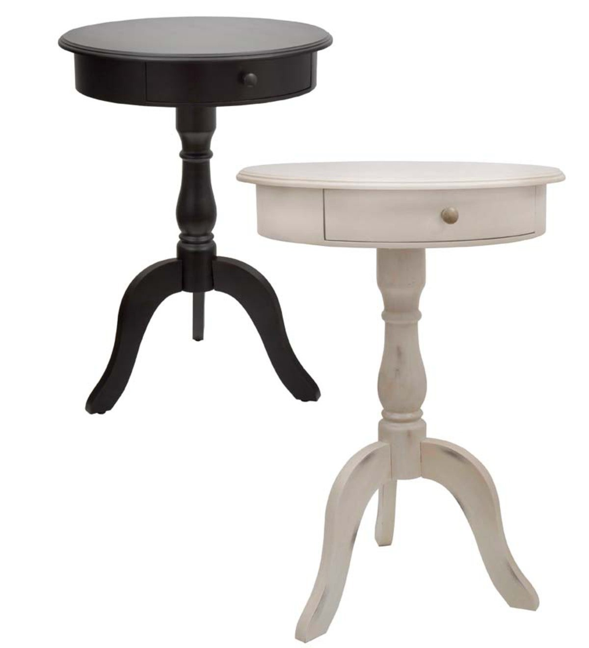 Round Pedestal Accent/Side Table with Drawer - Black