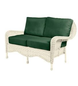 Prospect Hill Outdoor Wicker Deep Seating Love Seat with Cushions - Cloud White with Forest Green Cushions
