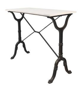 "36""-High Marble-Top Cast Iron Console Table"