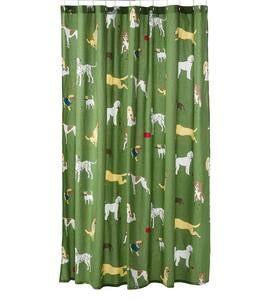 Bedtime Tails Dog Print Percale Shower Curtain