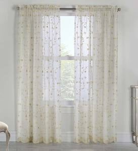 Candlewicking Embroidered Sheer Curtain Panels