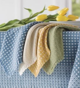 Homespun-Cotton Reversible Napkins, Set Of 4 - Solid Natural