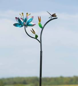 Single Flower Wind Spinner with Butterfly