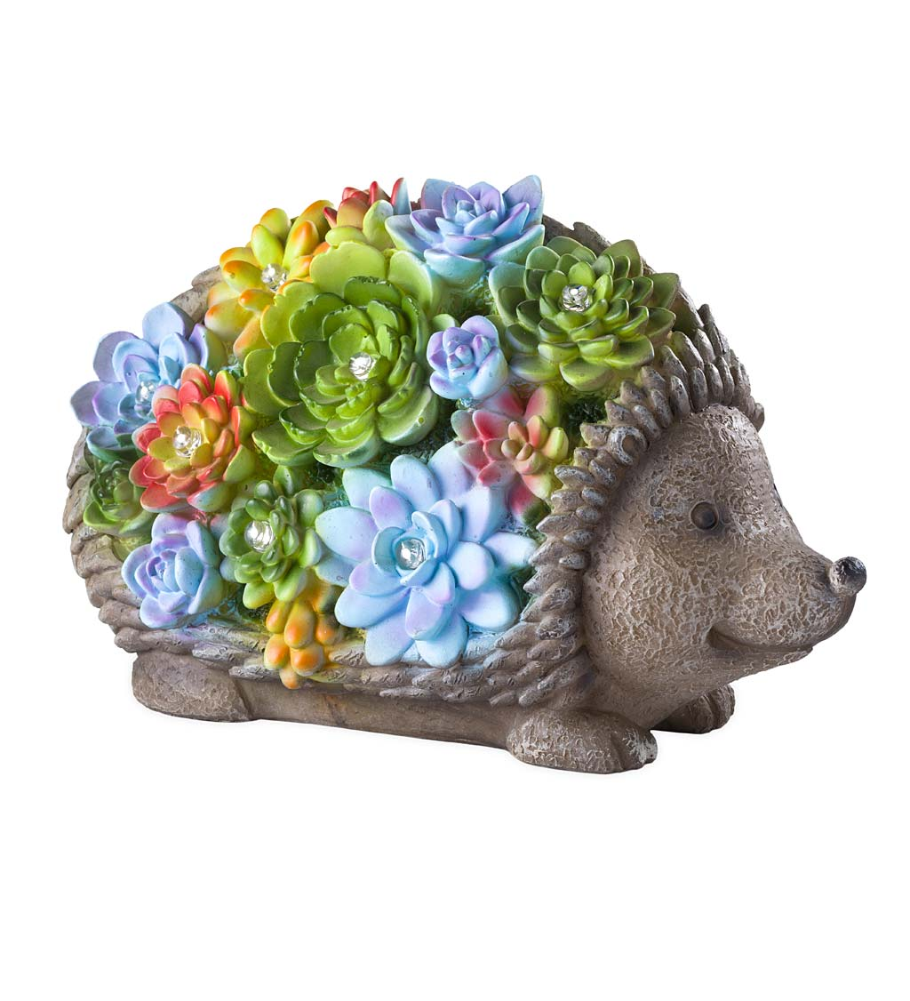 Solar Lighted Succulent Resin Animal Garden Statue