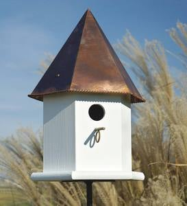 Copper Songbird Deluxe Birdhouse with Brown Patina Roof