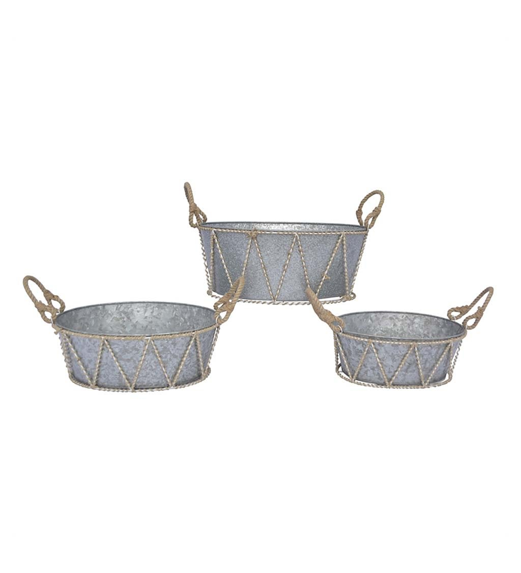 Galvanized Tubs, Set of 3