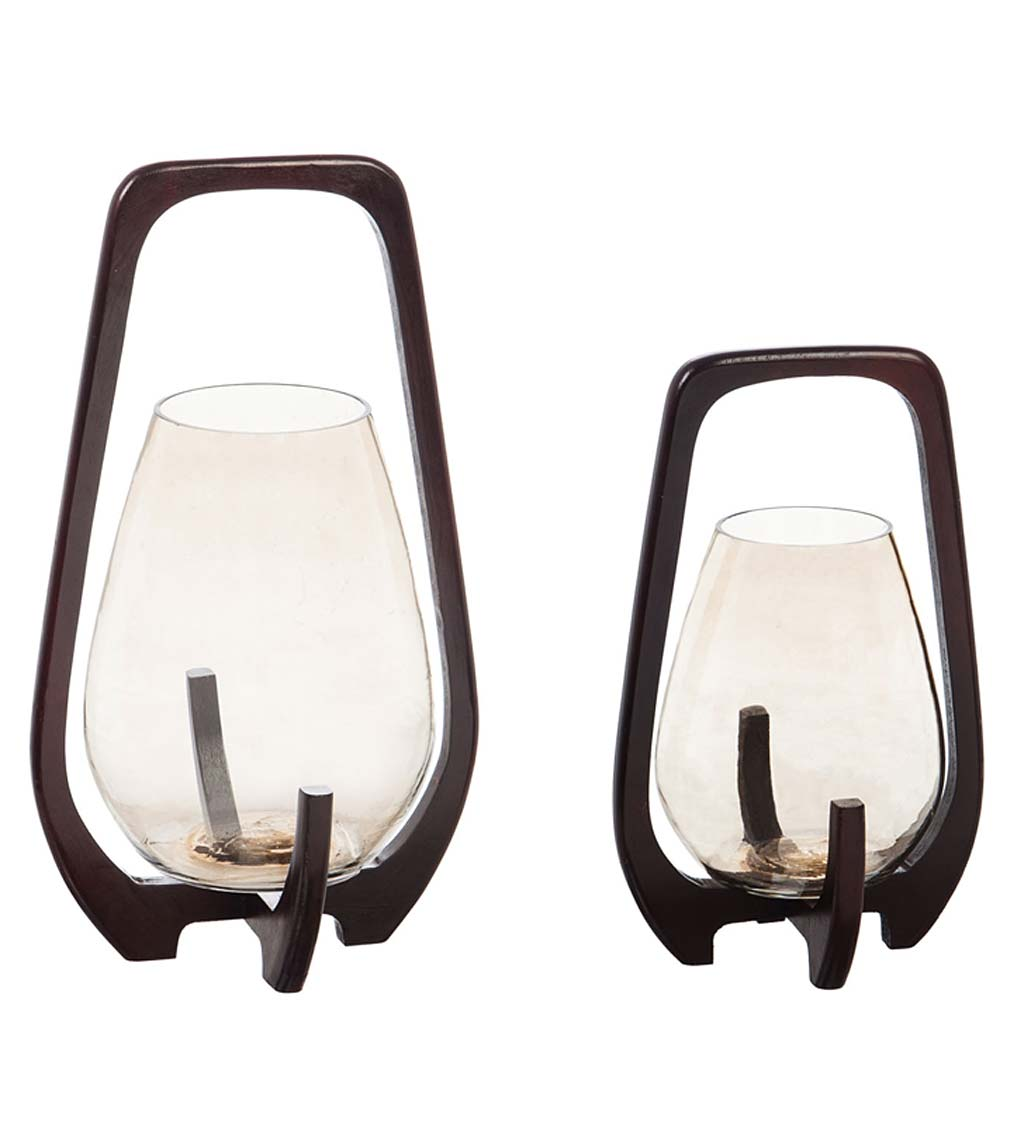 Luster Glass and Wood Candleholders, Set of 2