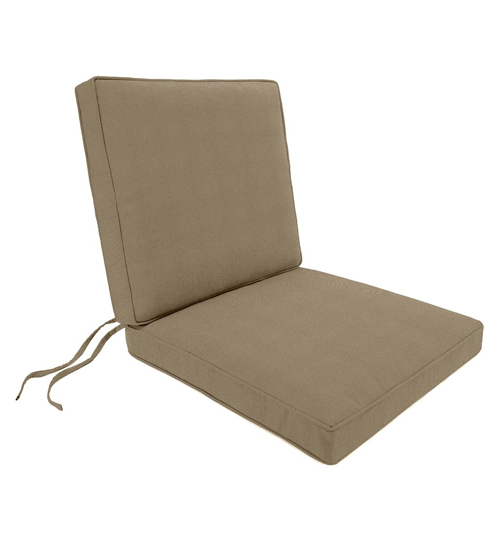 "Deluxe Sunbrella™ Seat-And-Back Chair Cushion with tie Seat: 19"" x 17"" x 3""; Back: 19"" x 19"" x 3"""