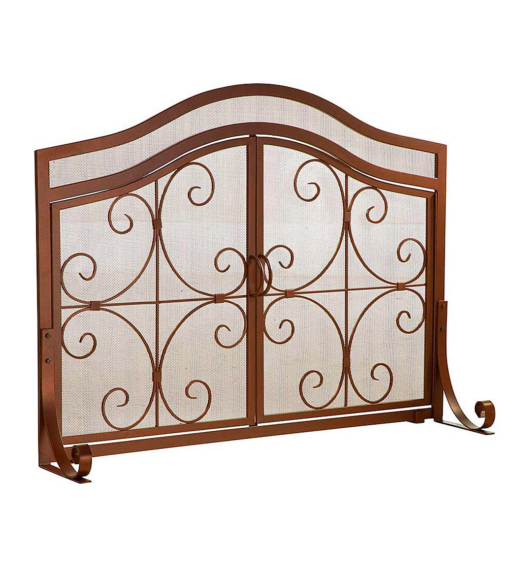 Small Crest Flat Guard Fireplace Screen