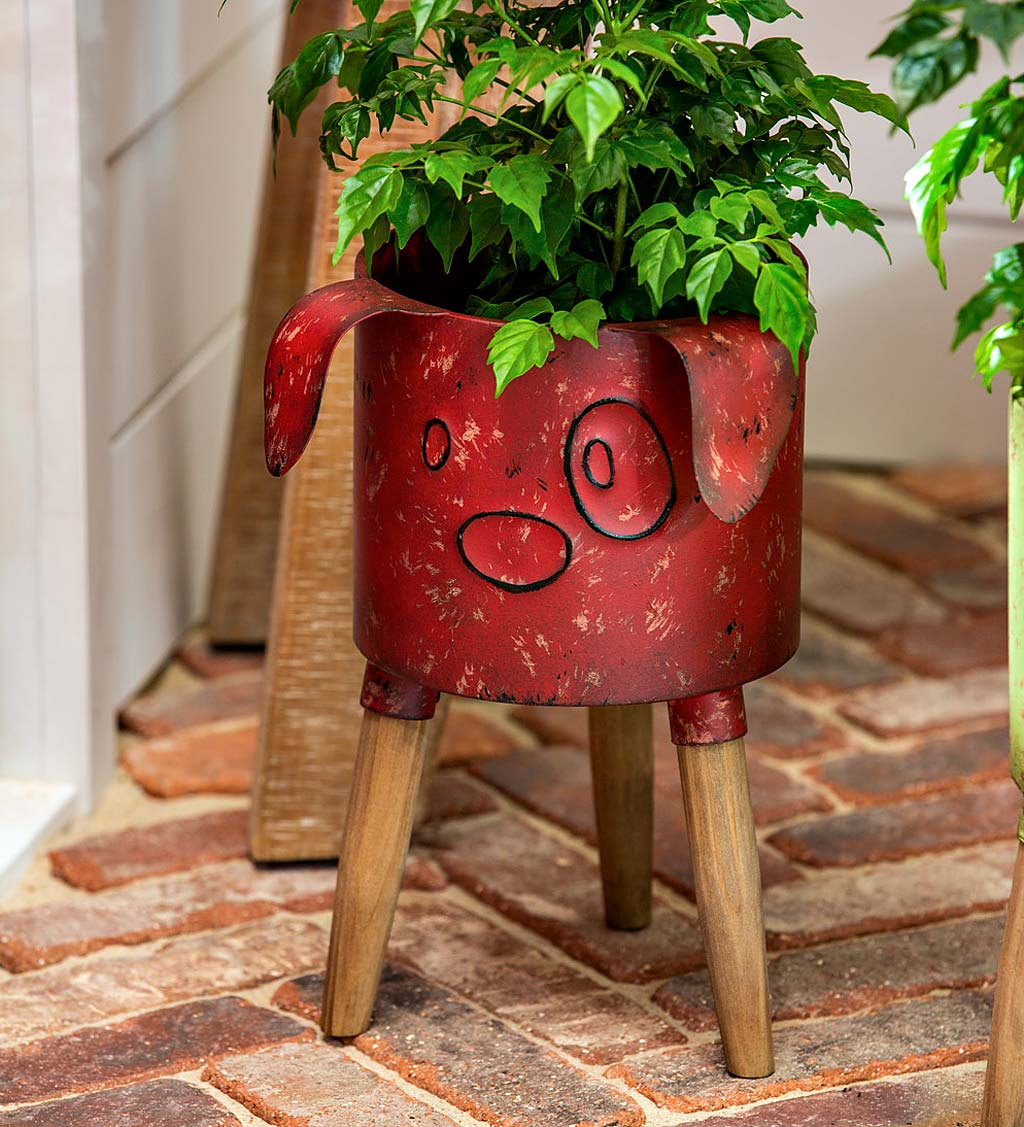 Metal Dog Planter With Wooden Stand