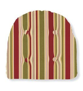 USA-Made Weather-Resistant Outdoor Tufted Chair Cushion - Orange Stripe