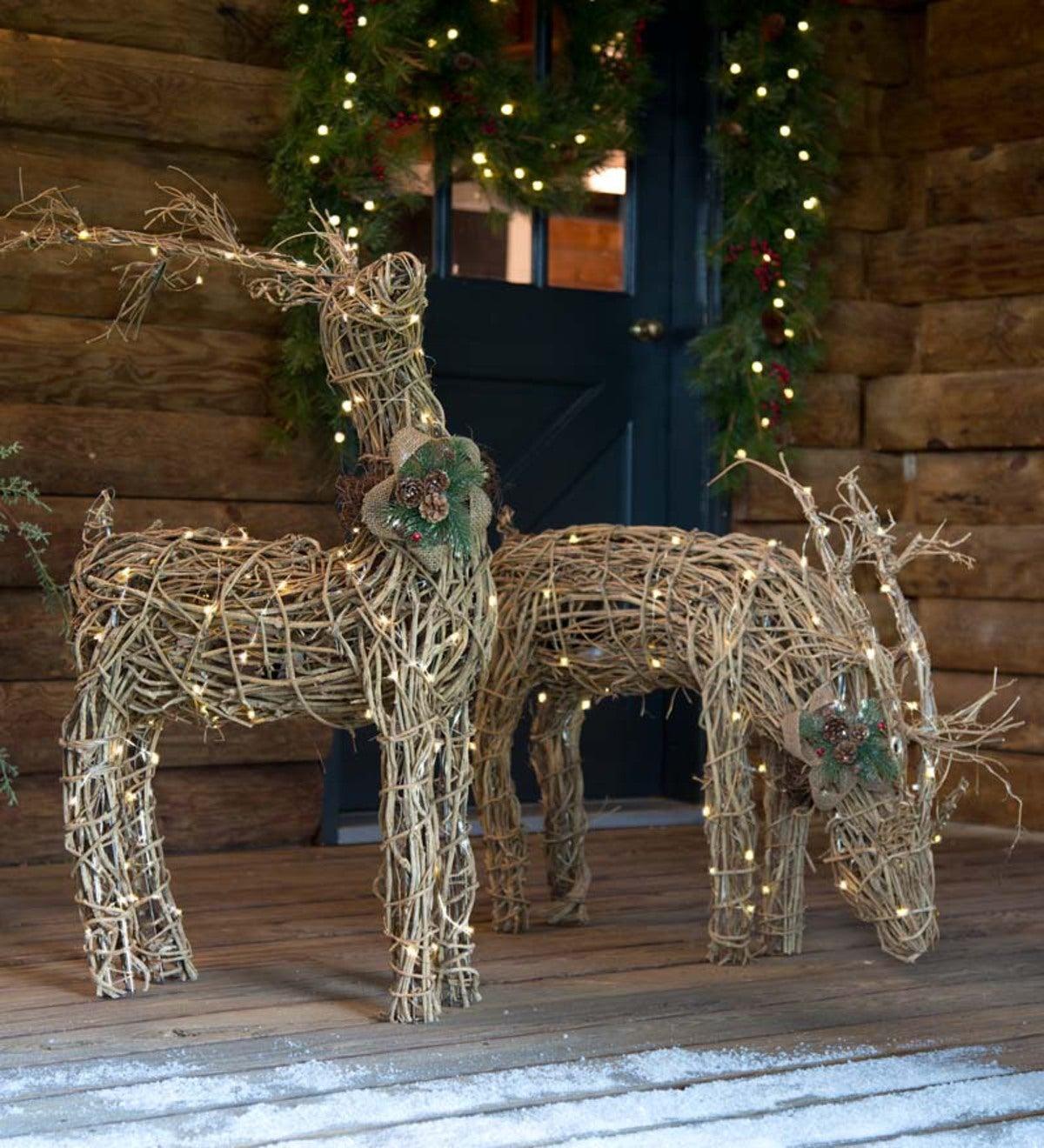 lighted rattan reindeer