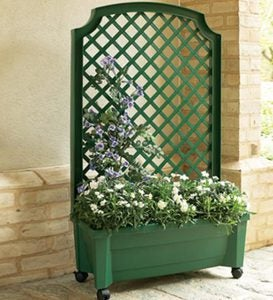 Planter With Trellis And Self-Watering Reservoir - White