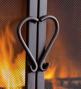 Cast Iron Scrollwork Fire Screen With Doors