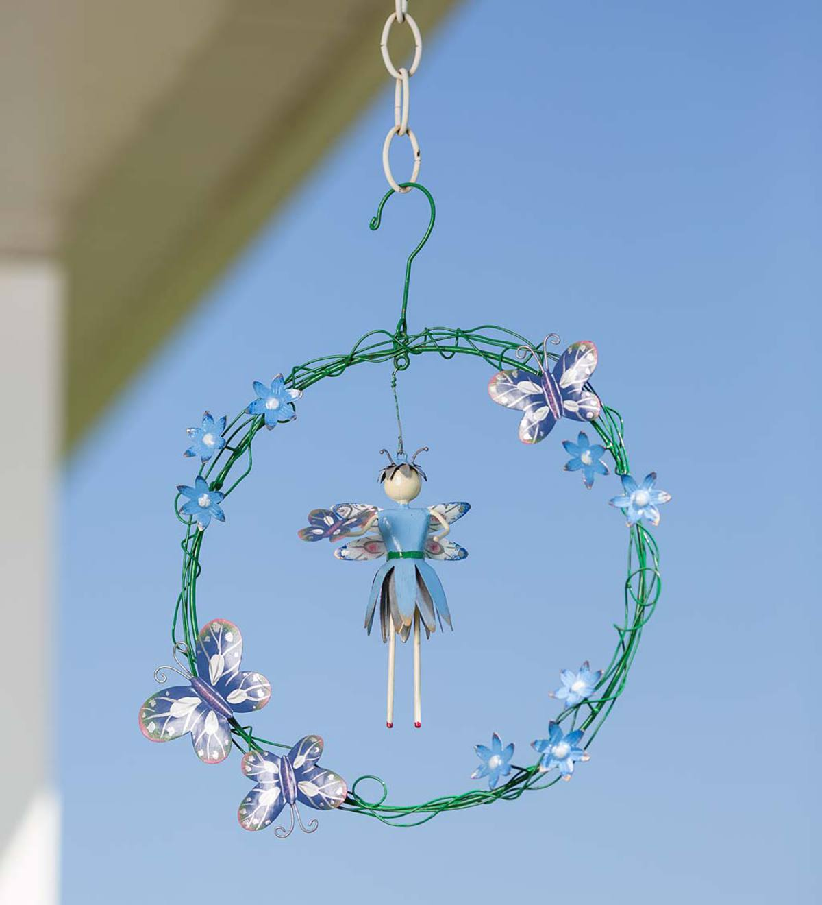 Pixie And Posies Hanging Metal Wreath - Green