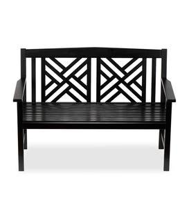 Black Eucalyptus Fretwork Outdoor Bench