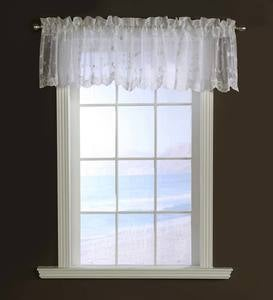"Candlewicking Embroidered Sheer Valance, 52""W x 17""L"