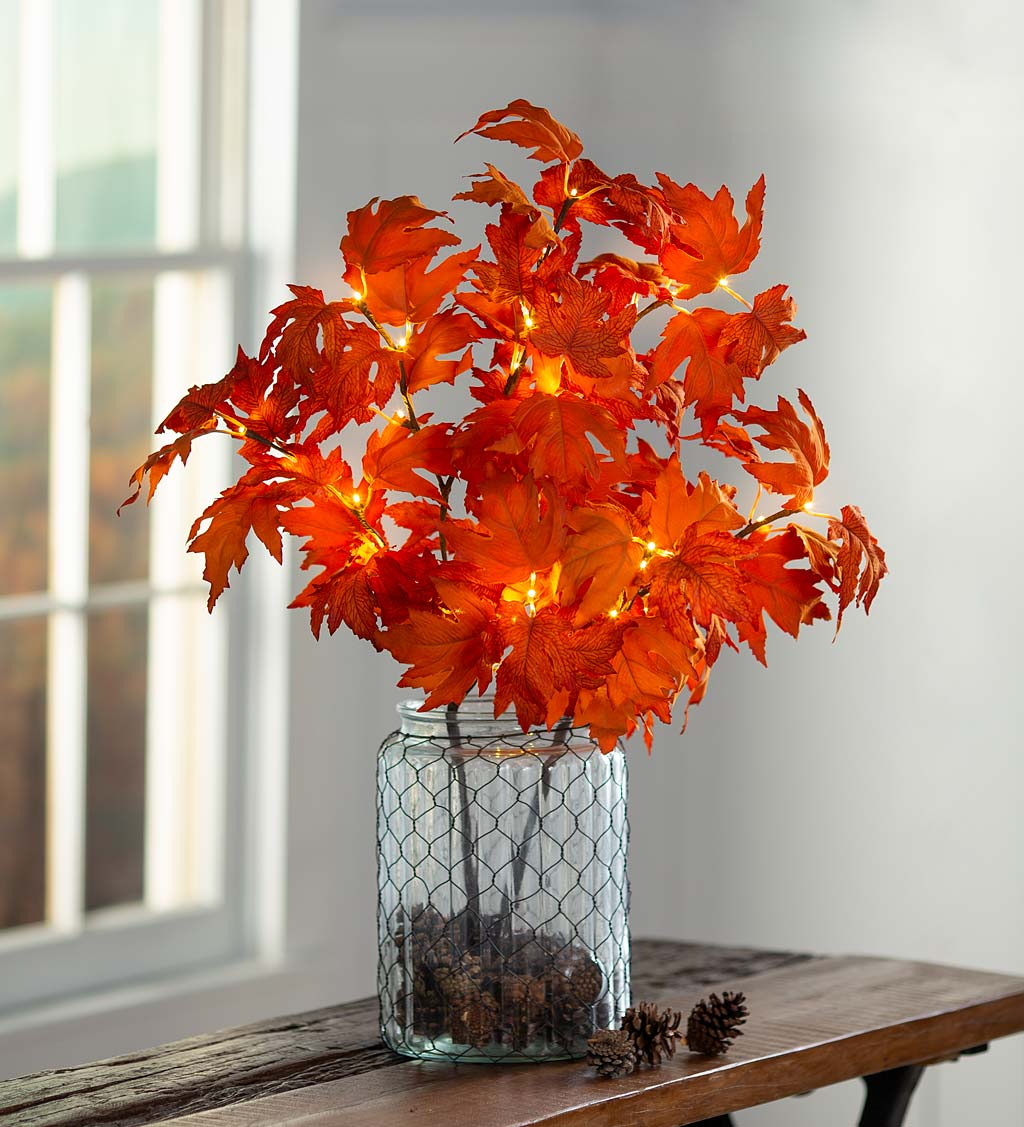 Indoor/Outdoor Lighted Maple Tree Branches, Set of 2