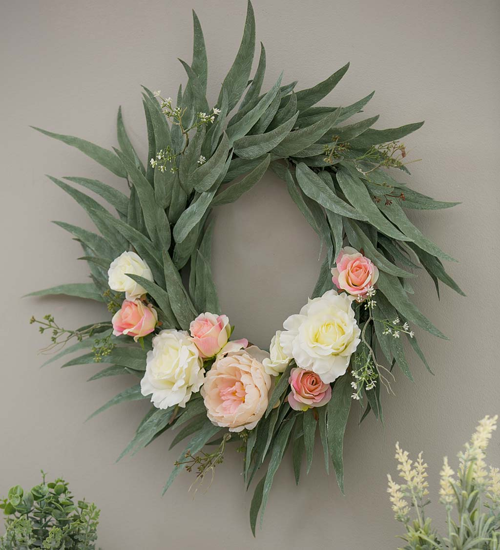 Everlasting Rose and Peony Floral Wreath