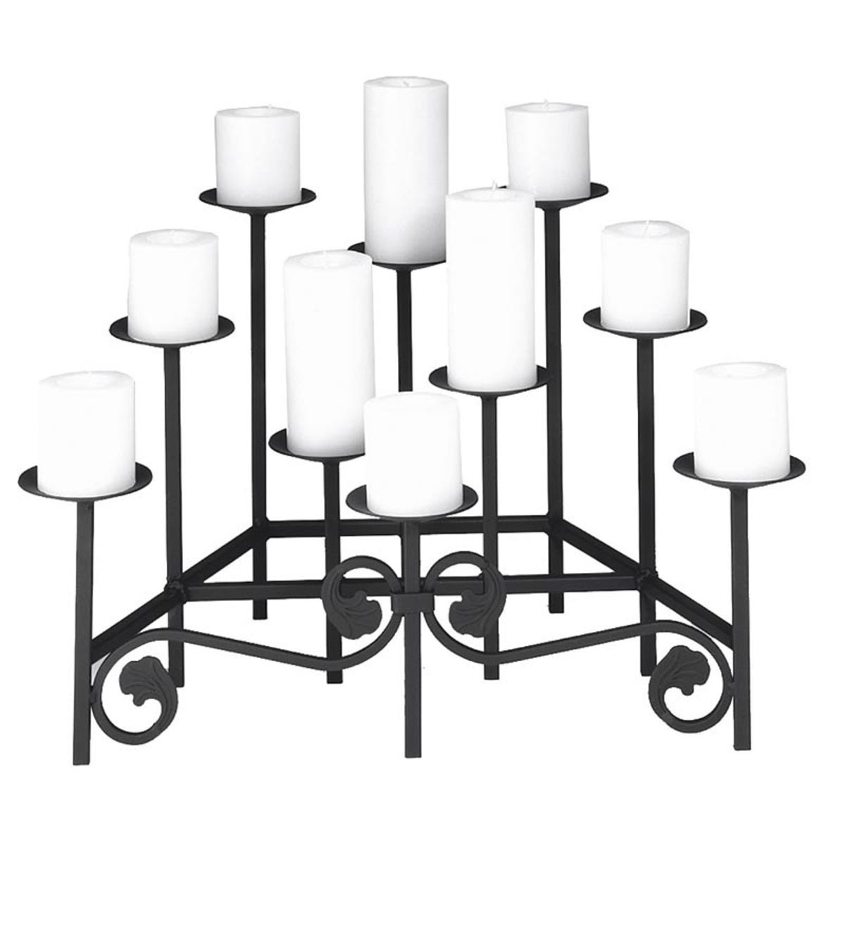 Iron Fireplace Candelabra with Ten Tiers - Black