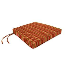 "Deluxe Sunbrella Tapered Chair Cushion with ties 19"" front/17"" back x 18"" x 3"" - Cherry Stripe"