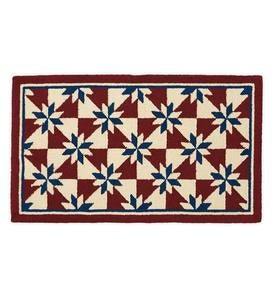 Indoor/Outdoor Hooked Americana Accent Rug