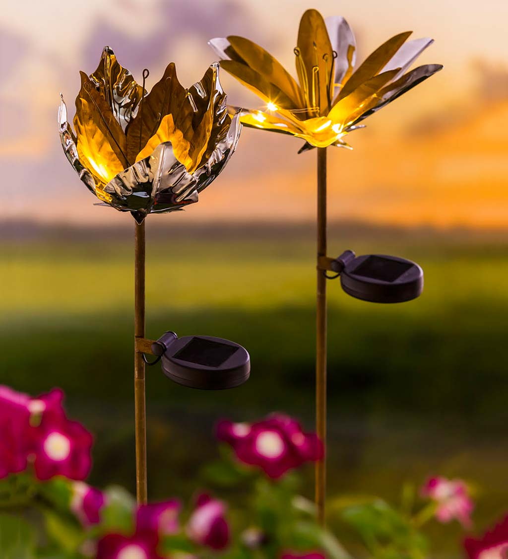 Solar Mixed Metals Flowers, Set of 2