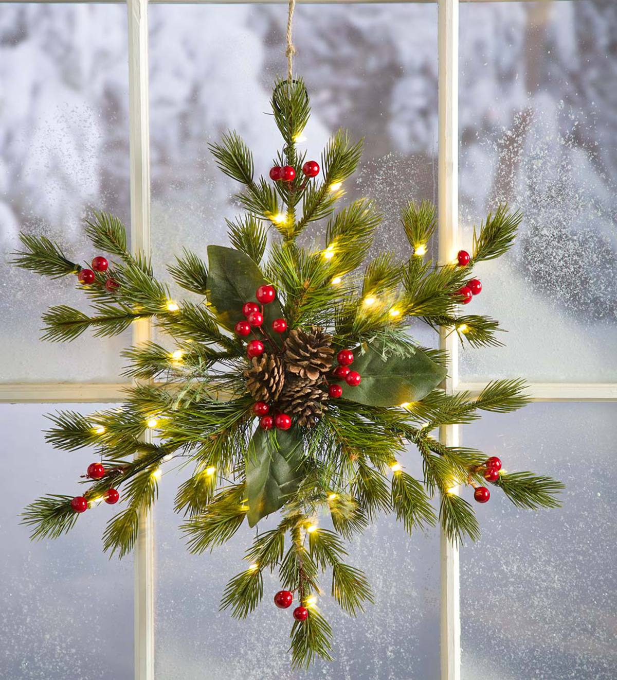 Lighted Faux Greenery Snowflake Holiday Accent